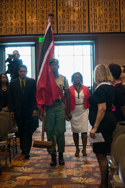 Delegates from Trinidad and Tobago enter as the Opening Ceremony begins