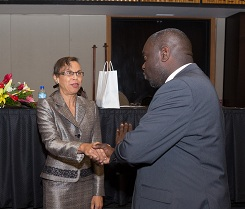 Ms. Sharman Ottley,Auditor General of Trinidad and Tobago greets the Mr. Winston Duke, President of the Public Service Association of Trinidad and Tobago