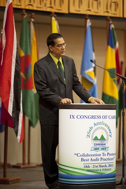 Mr. Majeed Ali , Assistant Auditor General of Trinidad and Tobago pays tribute to founding members of CAROSAI.